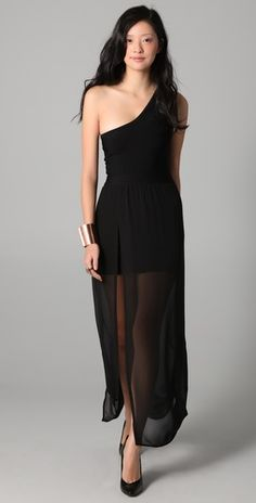 This look can be achieved by wearing a sheer skirt over an LBD.