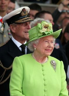 Queen Elizabeth II and Prince Phillip, Duke of Edinburgh watches a Ceremony to Commemorate D-Day 70 on Sword Beach, 06.06.2014 in Ouistreham, France.
