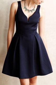 Solid Color V-Neck Sleeveless A Line Dress