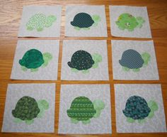 9 Green Turtle Quilt  Blocks, $15.95   FREE SHIPPING!