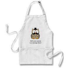Owl with Mustache and Hat Apron Cheap Aprons, Aprons For Sale, Kiss The Cook, Mustache, Owl, Hats, Moustache, Hat, Owls