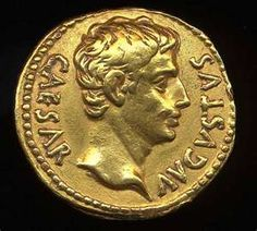 Obverse image of a coin of Augustus. Member of the Julio-Claudians dynasty. Coins for this issuer were issued from -31 until 14.
