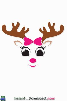Reindeer Face Bow SVG, Digital Silhouette and cricut Cut Cutting file, Reindeer Face Bow, svg files, svg file for silhouette Note: Please check your machine ability to read SVG files. ========== Features : This design is formatted to work with Silhouette Studio (Free Basic, Designer, & Business Editions), Cricut Design Space and use any other Printing Media. Easy Use for Card making, T-Shirt Design,