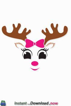 Silhouette Studio, Silhouette Cameo, Christmas Svg, Xmas, Reindeer Face, Seasonal Image, Rock Crafts, Cricut Design, Svg File