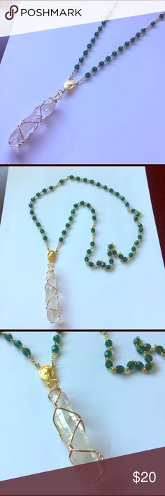 Crystal Green Beaded Rosary Necklace Rosary beads were purchased from a vintage flea market and the crystal was added by me. It's a great piece, very unique! Make an offer. Vintage Jewelry Necklaces