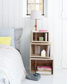 "thisoldapt: This DIY bedside table and lamp would make a nice replacement for the stacks of books on your floor. (And by ""your"" I mean my.) -EL Note from ts: GREAT find, EL! Isn't createforless the jam, for real for real? LOVE them! createforless: Boxes with Lighting via 101 Woonideeen"