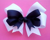 Private Prep School Uniform Hair Bow Clip Layered with a Curly Korker - Navy Blue Yellow & White - 4 inch corkers. $4.50, via Etsy.