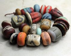 Lampwork Glass Beads Set SRA Matte Etched by StoneDesignsbySheila, $97.00