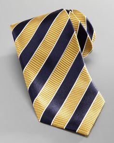 Striped Silk Tie, Yellow/Navy by Ermenegildo Zegna at Bergdorf Goodman.