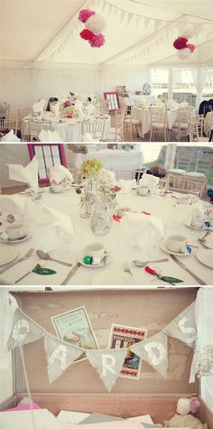 Pom poms & bunting with pretty tables
