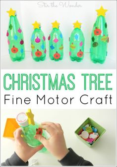 Christmas Tree Fine Motor Craft is simple enough for toddlers and make a great addition to seasonal decorations or small world play!