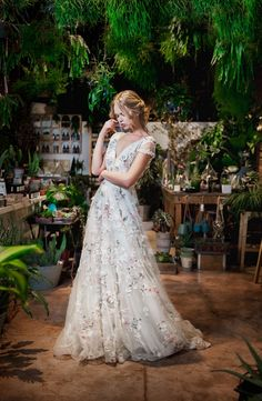 Boldly Boho: Embroidered Wedding dresses with Colourful Florals Unusual Wedding Dresses, Floral Wedding Gown, Colored Wedding Dresses, Dream Wedding Dresses, Bridal Dresses, Wedding Colors, Wedding Flowers, Embroidered Wedding Dresses, Floral Formal Dresses