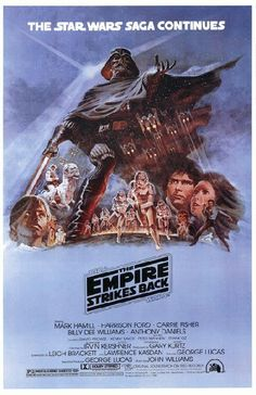 Movie poster for Star Wars: Episode V - The Empire Strikes Back starring Mark Hamill, Harrison Ford and Carrie Fisher from 1980. 11 x 17 high quality reproduction on card stock.
