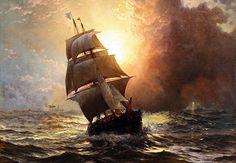History for Fantasy Writers: Pirates Ship Paintings, Old Paintings, Seascape Paintings, Landscape Paintings, Edward Moran, Bateau Pirate, Thomas Moran, Old Sailing Ships, Ghost Ship