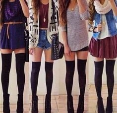 Spring outfits - thigh high socks with outfits.