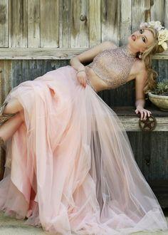Flowing Beautiful Two Piece High Halter Beaded Blush Long Dress