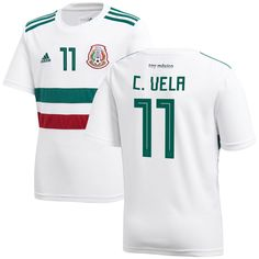 8ef0ea0681e Carlos Vela Mexico National Team adidas Youth 2018 Away Replica Player  Jersey – White Green