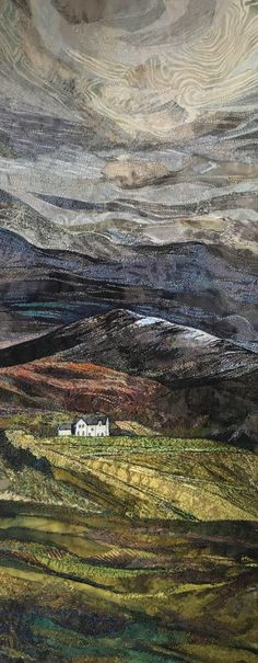 Moody skies over the Ben in Scotland. Embroidery by Rachel Wright