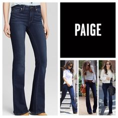 """Paige High Rise Bell Canyon.  NWT. Paige Dream Catcher High Rise Bell Canyon Jeans, 77% cotton, 21% polyester, 2% elastane, machine washable, 34"""" waist, 9.5"""" front rise, 14.5"""" back rise, 28"""" inseam, 14"""" leg opening (all around), five pockets, belt loops, Paige signature leather patch and emblem on back, measurements are approx.  No Paypal....No Trades.... Paige Jeans Jeans Flare & Wide Leg"""