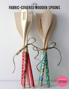 Fabric covered wooden spoon gift idea