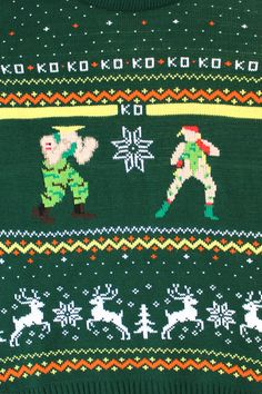 Take the fight for festive fashion to your streets with this Official Capcom Knitted Street Fighter Guile Vs. Cammy Christmas Jumper. This green jumper design feature the American muscle-head Guile taking on the British military beauty Cammy, mixed up with authentic festive snowflakes and reindeer.
