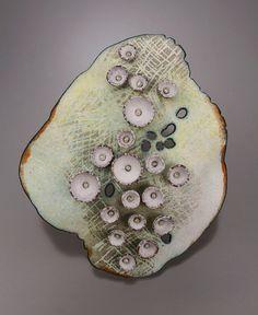 """danielle embry -peeled brooch - enamel on copper, sterling silver 3 1/2"""" x 3"""" x 1/2"""""""