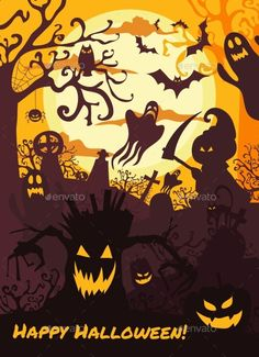 Halloween Illustration Background with Spooky Cemetry