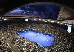 The sun sets over the men's singles match between David Ferrer of Spain and Marcos Baghdatis of Cyprus at the Australian Open tennis tournament in Melbourne. Australian Open Tennis, Tennis Tournaments, French Open, Wimbledon, Melbourne, Spain, Tv, World, Places