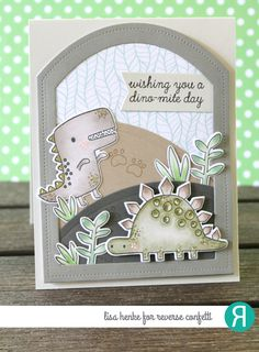 Card by Lisa Henke. Reverse Confetti stamp set: No Tomorrow. Confetti Cuts: No Tomorrow and Pierced Round Top Layer. RC 6x6 paper pad: Under the Umbrella. Birthday card. Friendship card. Dinosaur.