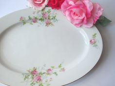 Vintage Union T Czecho-Slovakia Pink Green Rose by thechinagirl