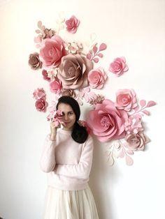 Fiore di carta muro-fiore di carta sfondo-matrimonio