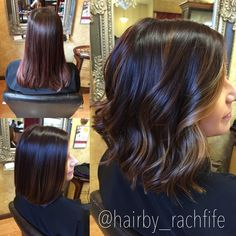 Before and after deep base with subtle balayage highlights on a long bob haircut. hair by Rachel Fife @ SF Salon