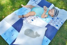 Quilt  Baby Boy Nursery Nautical Quilt by SleepingLakeDesigns, $40.00   Blanket of blue, white, and grey with whale and anchor prints.