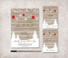 Rustic Winter Wedding Invitation, Printable Wedding Invitation Suite, Wedding Stationery Set, Christmas Wedding Invitation, Digital File