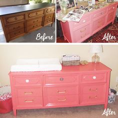 DIY Projects, Family Annabelle's Baby Nursery We finally finished the Nursery! Slowly but surely we put the final touches on Annabelle's room. Coral Dresser, Lily Grace, Little Girl Rooms, My Room, My Dream Home, Diy Projects, Nursery Ideas, Room Ideas, Table