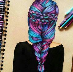Draw Colourfull Hair