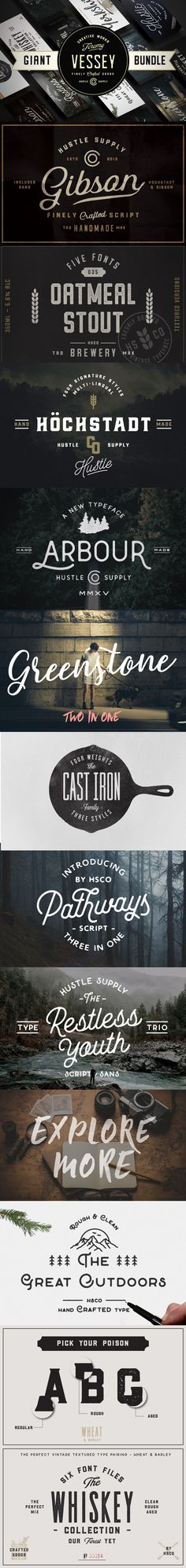 Ridiculous font bundle. 50+ vintage, retro, script and hip fonts. #fontbundle, #vintagefontbundle, #retrofontbundle, #whiskey, #outdoors, #beer, #label, #aged