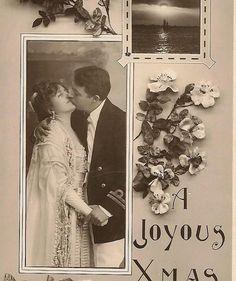 Romantic RPPC A Christmas Kiss Rotograph Co by TheOldBarnDoor, $4.50