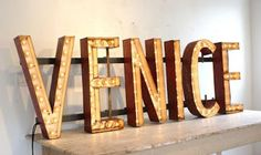 Creative Typeverything, -, Venice, Signage, and Light image ideas & inspiration on Designspiration Light Letters, Marquee Letters, Marquee Lights, Illuminated Letters, Old Signs, Neon Lighting, Vintage Signs, Vintage Type, Oh The Places You'll Go