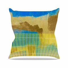 KESS InHouse TK1050AOP03 18 x 18-Inch 'Trebam Okean Blue Yellow' Outdoor Throw Cushion - Multi-Colour