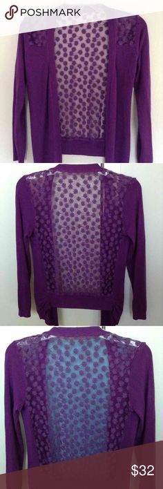 Purple Crochet Knit Cardigan Purple crochet knit cardigan. Cute, sexy, and stretchy cover-up. Shoulders and back are individual flowers creating a see-through effect. Long sleeves and small gathers at the hip. Blouse under cardigan not included.NWOT Sweaters Cardigans