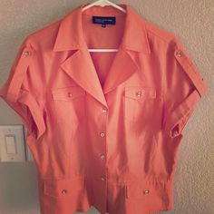 Blouse Orange blouse with gold buttons Jones New York Tops Blouses