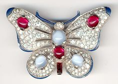 Trifari 'Alfred Philippe' Blue and Ruby Cabochon Butterfly Pin