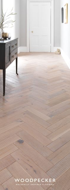 Parquet gets a texture rush in Goodrich Salted Oak. These sawn and matt lacquered blocks are rustic to the touch yet wonderfully contemporary in colour. Oak Parquet Flooring, Hardwood Floors, Kitchen Extension Open Plan, Kitchen Living, Living Room, Floor Colors, Home Comforts, Open Plan Living, Colour Schemes