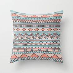 Tribal #4 (Coral/Aqua) Throw Pillow by Haleyivers - $20.00