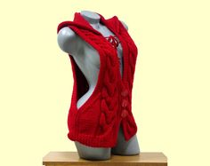 Knitted red hooded vest Cable knit cardigan Low by CleopatraArt
