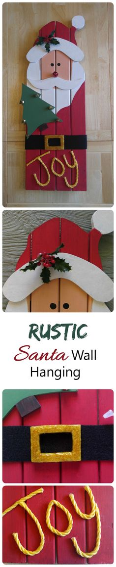 Santa Claus Wall Hanging - DIY Reclaimed Wood Santa Decoration #Christmas #DiyChristmasDecorations #DiyChristmasGifts #DiyChristmas