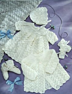 Knitting Patterns Baby Layette Stylecraft 4585 Baby by elanknits (Craft Supplies & Tools, Patterns & Tutorials, Fiber Arts, Knitting, knitting patterns, baby dress pattern, hat knitting pattern, baby mittens pattern, knitting pattern, baby booties pattern, baby blanket pattern, baby sweater pattern, cardigan pattern, matinee coat pattern, stylecraft 4584, baby hat pattern, baby bonnet pattern)
