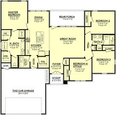 Ellenwood This wonderful plan has so many features for only 1725 square feet of heated and cooled space. This plan offers four bedrooms, one of which could be used as an office; two baths with a large master suite, large living room, open floor plan, o House Plans One Story, New House Plans, Dream House Plans, Small House Plans, House Floor Plans, The Plan, How To Plan, Plan Plan, Bedroom Layouts