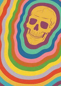 Rainbow Skull Illustration